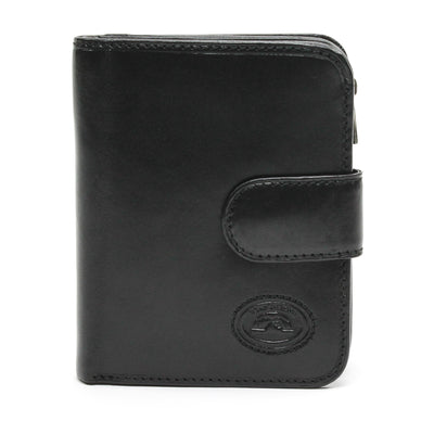 Tony Perotti Italian Leather Compact Clutch Wallet with Coin Pocket in Black