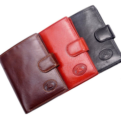 Tony Perotti Womens Italian Bull Leather Bifold Credit Card Wallet w/ Coin Pouch