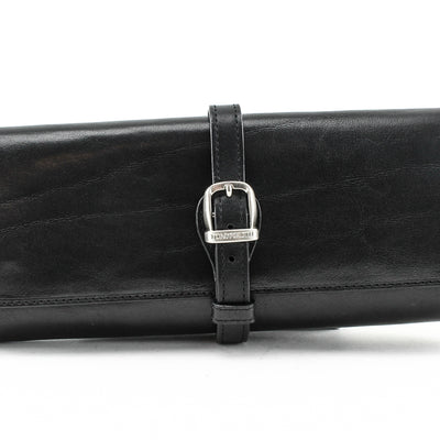 Tony Perotti Italian Leather Grande Jewelry Roll Travel Organizer in Black