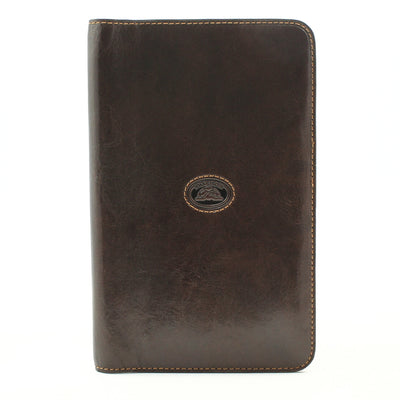 Tony Perotti Unisex Italian Bull Leather Bifold Credit Card and Business Card Case Holder - 72 Slots in Brown