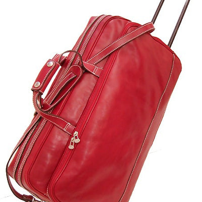 Floto Unisex Large Milano Trolley Wheeled Luggage in Red