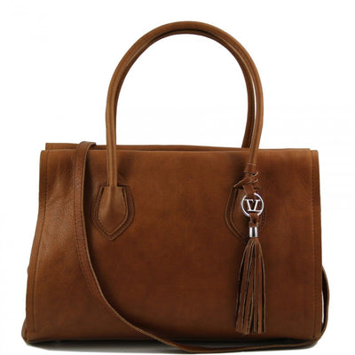 Tuscany Leather Soft Leather Bag with Tassel Detail and Shoulder Strap