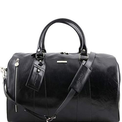Tuscany Leather TL Voyager - Travel leather duffle bag - Small size Black Leather Travel bags