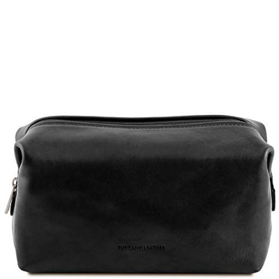 Tuscany Leather Smarty - Leather toilet bag - Large size Black Travel leather accessories