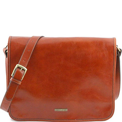 Tuscany Leather TL Messenger - Two compartments leather shoulder bag - Large size Honey Leather briefcases