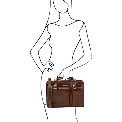 Tuscany Leather Tania - Leather lady handbag - Large size Brown Leather handbags