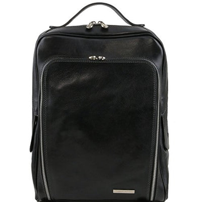 Tuscany Leather Bangkok - Leather laptop backpack Black Leather Backpacks