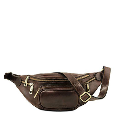 Tuscany Leather Leather Fanny Pack Dark Brown Leather bags for men