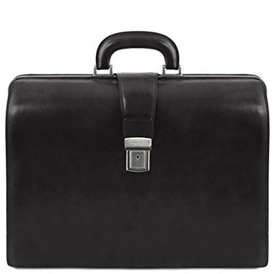 Tuscany Leather - Canova - Leather Doctor bag briefcase 3 compartments Black - TL141347/2