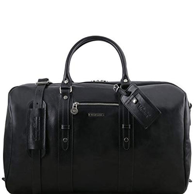 Tuscany Leather TL Voyager - Leather travel bag with front pocket Black Leather Travel bags