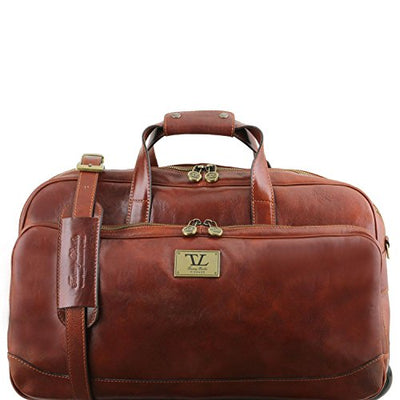 Tuscany Leather Samoa - Trolley leather bag - Small size Black Leather Wheeled luggage