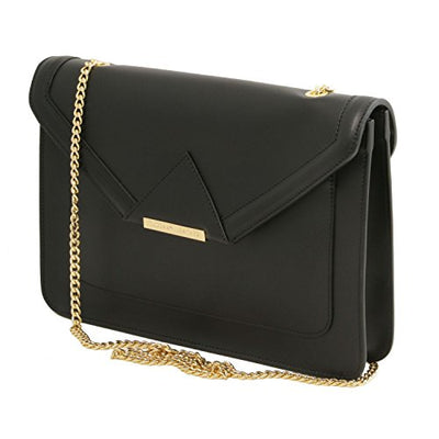 Tuscany Leather Iride - Ruga leather clutch with chain strap - TL141567 (Black)