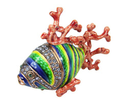 Lovely Coral Fish Swarovski Crystal Trinket Box - Blue - Triple Blessings