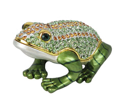 Lovely Frog Swarovski Crystal Trinket Box - Mint Green - Triple Blessings