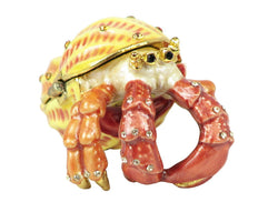 Lovely Hermit Crab Swarovski Crystal Trinket Box - Yellow - Triple Blessings