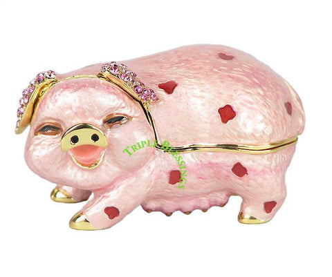 Lovely Pig Swarovski Crystal Trinket Jewelry Box - Triple Blessings