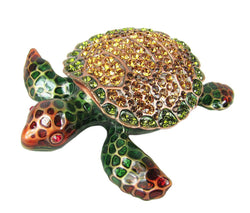 Lovely Sea Turtle Swarovski Crystal Trinket Box - Brown - Triple Blessings