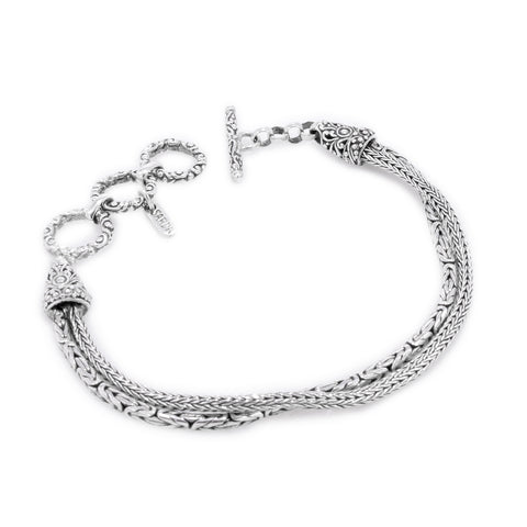 Precious Sarda .925 Sterling Silver Handcrafted Toggle Bracelet - Triple Blessings
