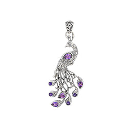 Precious Sarda .925 Sterling Silver Topaz & Amethyst Peacock Handcraft Pendant - Triple Blessings