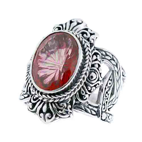 Precious Sarda .925 Sterling Silver Brilliant Eve Mystic Quartz Handcraft Ring - Triple Blessings