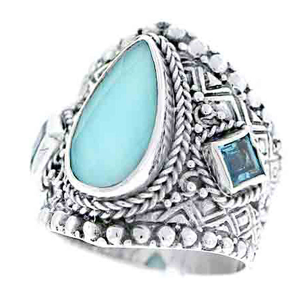 Precious Sarda .925 Silver Turqoise Quartz and Swizz Blue Topaz Ring - Triple Blessings