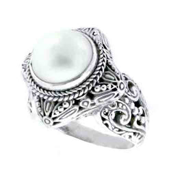 Precious Sarda .925 Sterling Silver Cultured Mabe Pearl Handcrafted Ring - Triple Blessings