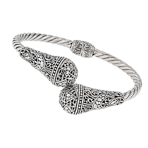 Precious Sarda .925 Sterling Silver Bypass Handcrafted Bangle Bracelet - Triple Blessings