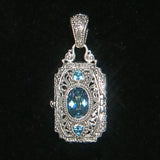 Precious Sarda .925 Sterling Silver Blueicious Quartz & Topaz Locket Pendant - Triple Blessings