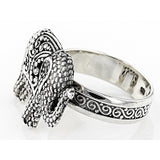 Precious Sarda .925 Sterling Silver Elephant Handcrafted Ring - Triple Blessings