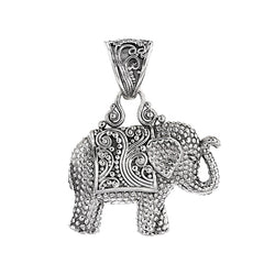 Precious Sarda .925 Sterling Silver Elephant Handcrafted Pendant - Triple Blessings