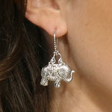 Precious Sarda 925 Sterling Silver Elephant Dangle Handcraft Earrings - Triple Blessings