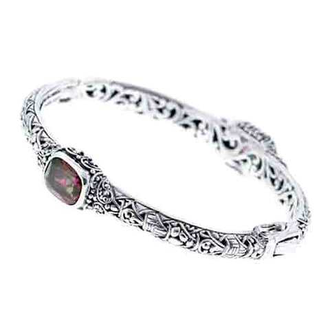 Precious Sarda .925 Sterling Silver Quartz Handcraft Bracele with Safety Latch - Triple Blessings