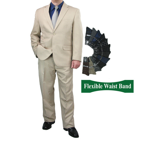 Sharp Mens 2pc. 2-B Comfortable Stretch Waist Suit With 1 Pair Socks - BEIGE - Triple Blessings
