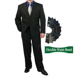 Sharp Mens 2pc. 2-B Comfortable Stretch Waist Suit With 1 Pair Socks - BLACK - Triple Blessings
