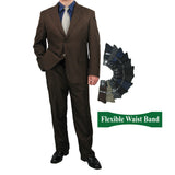 Sharp Mens 2pc. 2-B Comfortable Stretch Waist Suit With 1 Pair Socks - COCOA - Triple Blessings