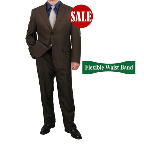 SALE! Sharp Mens 2pc. 2-B Comfortable Stretch Waist Suit - COCOA - Triple Blessings