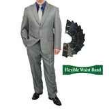 Sharp Mens 2pc. 2-B Comfortable Stretch Waist Suit With 1 Pair Socks - GRAY - Triple Blessings