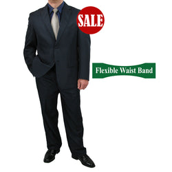 SALE! Sharp Mens 2pc. 2-B Comfortable Stretch Waist Suit - NAVY - Triple Blessings
