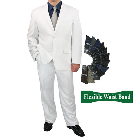 Sharp Mens 2pc. 2-B Comfortable Stretch Waist Suit With 1 Pair Socks - WHITE - Triple Blessings