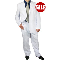 SALE! Stylish 2pc. Men's Regular Fit Dress Suit - WHITE - Triple Blessings
