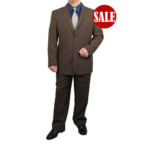 SALE! Stylish 2pc. Men's Regular Fit Dress Suit - BROWN - Triple Blessings