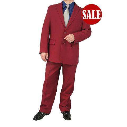 SALE! Stylish 2pc. Men's Regular Fit Dress Suit - BURGUNDY - Triple Blessings