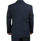 Stylish 2pc. Men's Regular Fit Dress Suit w/ 1 Pair of Socks - NAVY - Triple Blessings