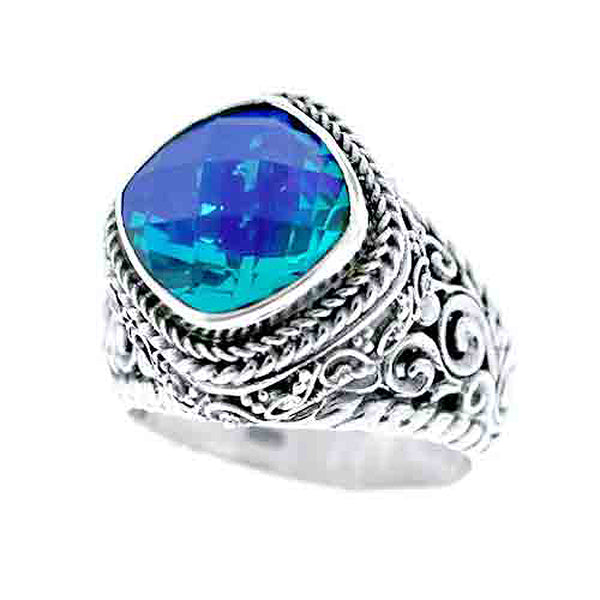 Precious Caribbean Quartz Sarda 925 Sterling Silver Handcrafted Ring - Triple Blessings