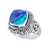 Precious Sarda .925 Sterling Silver Caribbean Quartz Handcraft Ring - Triple Blessings