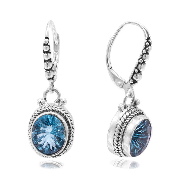 Precious Sarda .925 Sterling Silver Blue Topaz French Wire Dangle Earrings