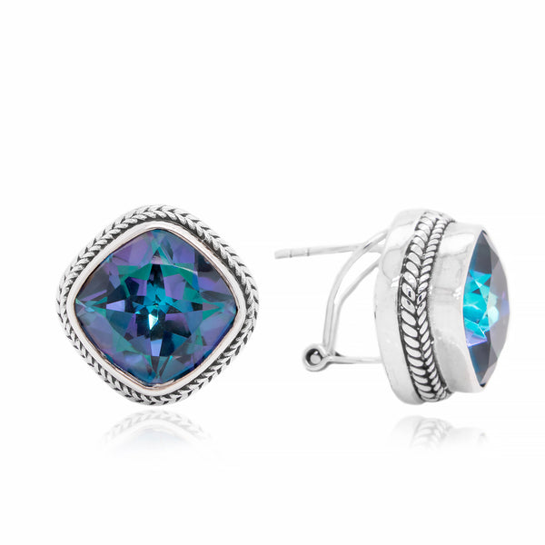 Precious Sarda .925 Sterling Silver Blueicious Mystic Quartz Clip Earrings - Triple Blessings