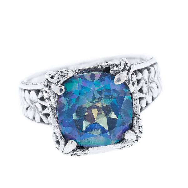 Precious Sarda .925 Sterling Silver Blueicious Mystic Quartz Ring - Triple Blessings