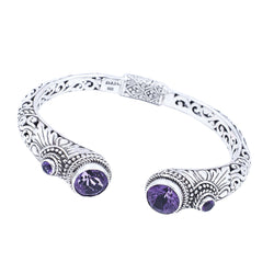Precious Sarda .925 Sterling Silver Amethyst Retention Hinge Handmade Bracelet - Triple Blessings