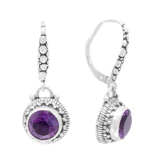 Precious Sarda .925 Sterling Silver Amethyst Franch Wire Dangle Earrings